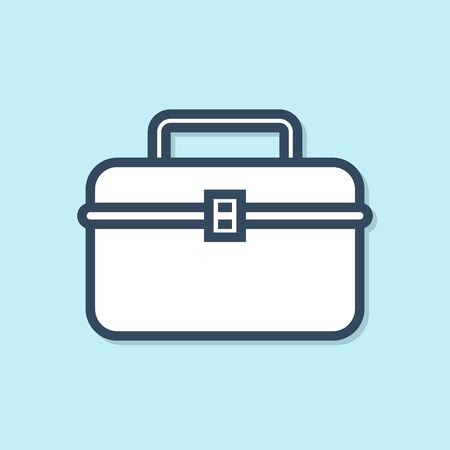 Blue line Case or box container for wobbler and gear fishing equipment icon isolated on blue background. Fishing tackle. Vector Illustration