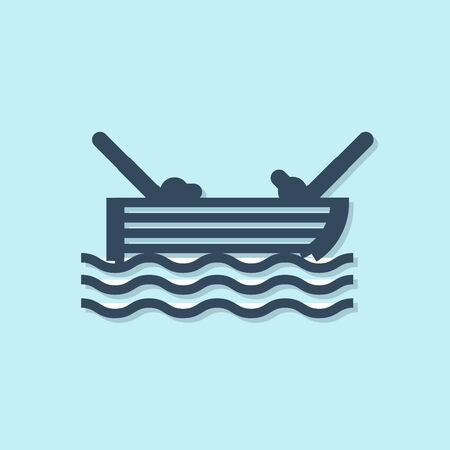 Blue line Fishing boat with fishing rod on water icon isolated on blue background. Vector Illustration