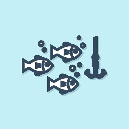 Blue line Fishing hook under water with fish icon isolated on blue background. Fishing tackle. Vector Illustration