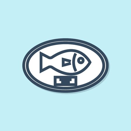 Blue line Fish trophy hanging on the board icon isolated on blue background. Fishing trophy on wall. Vector Illustration Stock Illustratie