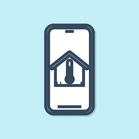 Blue line Mobile phone with house temperature icon isolated on blue background. Thermometer icon. Vector Illustration 일러스트