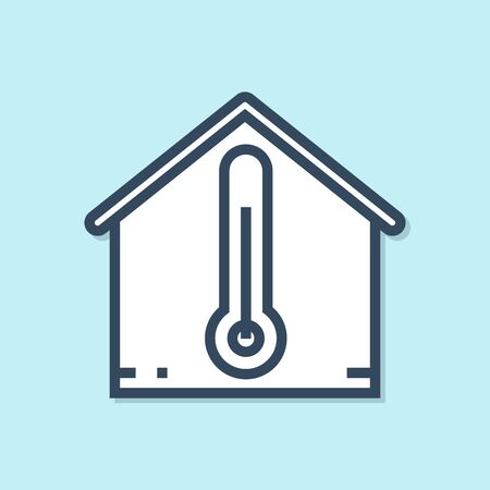 Blue line House temperature icon isolated on blue background. Thermometer icon. Vector Illustration