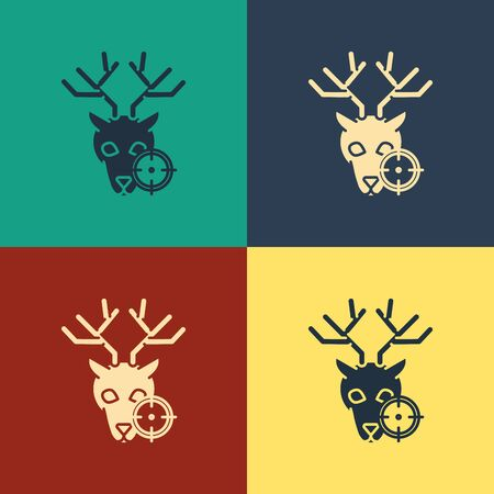 Color Hunt on deer with cross hairs icon isolated on color background.