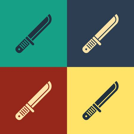 Color Hunter knife icon isolated on color background. Army knife. Vintage style drawing. Vector Illustration