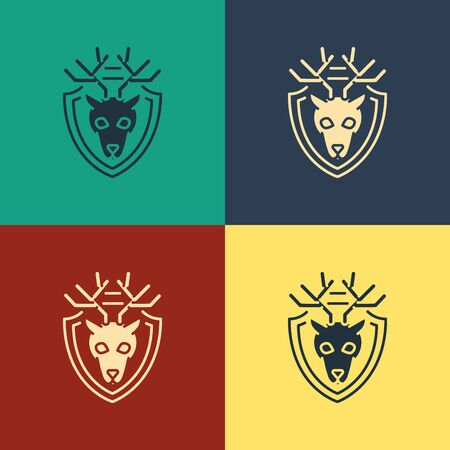 Color Deer head with antlers on shield icon isolated on color background. Hunting trophy on wall. Vintage style drawing. Vector Illustration