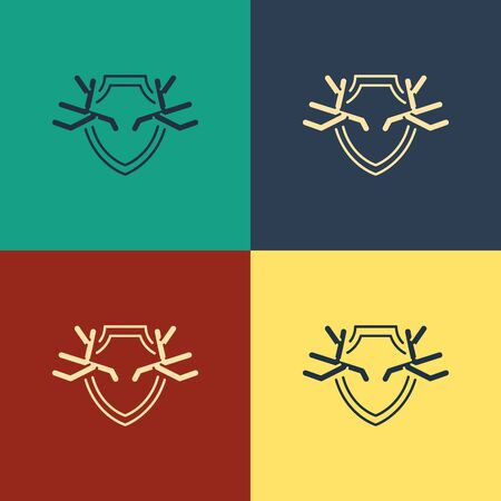 Color Deer antlers on shield icon isolated on color background. Hunting trophy on wall. Vintage style drawing. Vector Illustration