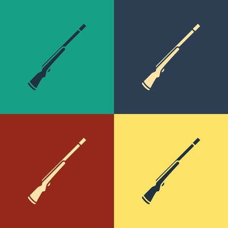 Color Hunting gun icon isolated on color background. Hunting shotgun. Vintage style drawing. Vector Illustration