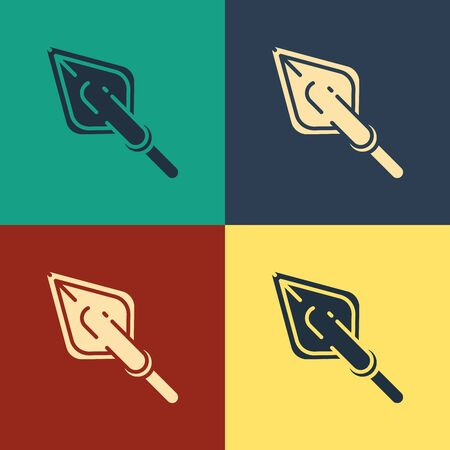 Color Hipster arrow tip icon isolated on color background. Vintage style drawing. Vector Illustration