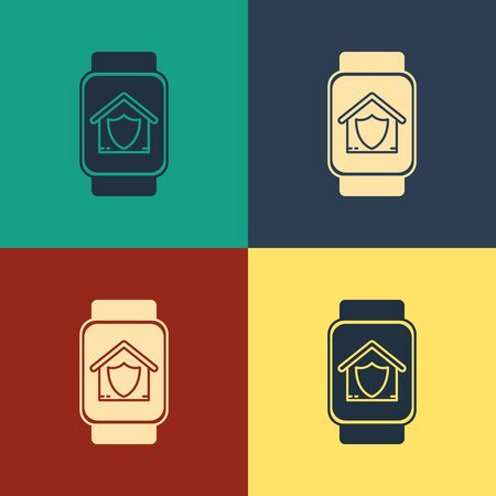 Color Smart watch with house under protection icon isolated on color background. Protection, safety, security, protect, defense concept. Vintage style drawing. Vector Illustration Illusztráció