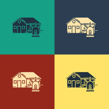 Color Smart house and alarm icon isolated on color background. Security system of smart home. Vintage style drawing. Vector Illustration