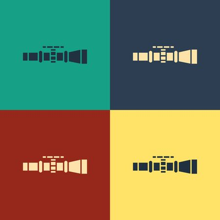 Color Sniper optical sight icon isolated on color background. Sniper scope crosshairs. Vintage style drawing. Vector Illustration Иллюстрация