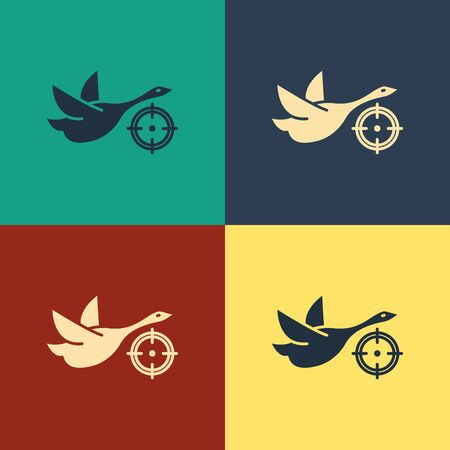 Color Hunt on duck with crosshairs icon isolated on color background. Hunting club icon with duck and target. Rifle lens aiming a duck. Vintage style drawing. Vector Illustration