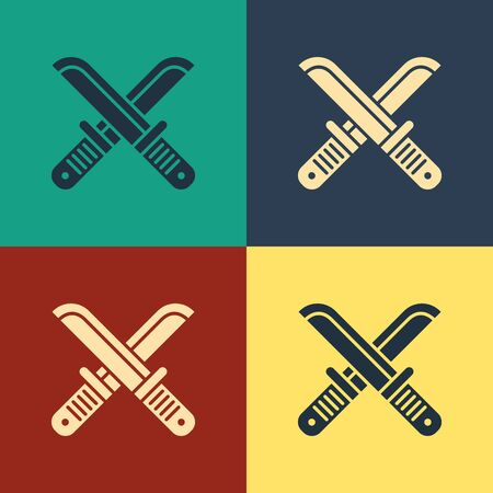 Color Crossed hunter knife icon isolated on color background. Army knife. Vintage style drawing. Vector Illustration Иллюстрация