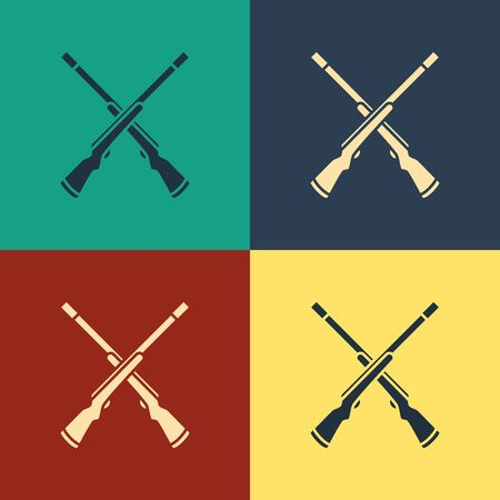 Color Two crossed shotguns icon isolated on color background. Hunting gun. Vintage style drawing. Vector Illustration Иллюстрация