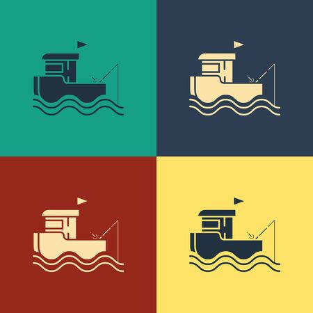 Color Fishing boat with fishing rod on water icon isolated on color background. Vintage style drawing. Vector Illustration 일러스트
