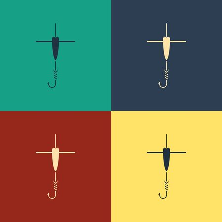 Color Fishing hook and float icon isolated on color background. Fishing tackle. Vintage style drawing. Vector Illustration