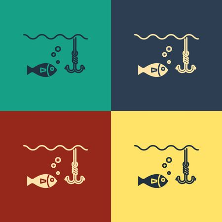 Color Fishing hook under water with fish icon isolated on color background. Fishing tackle. Vintage style drawing. Vector Illustration 일러스트