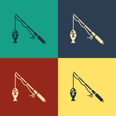 Color Fishing rod and fish icon isolated on color background. Fishing equipment and fish farming topics. Vintage style drawing. Vector Illustration 일러스트
