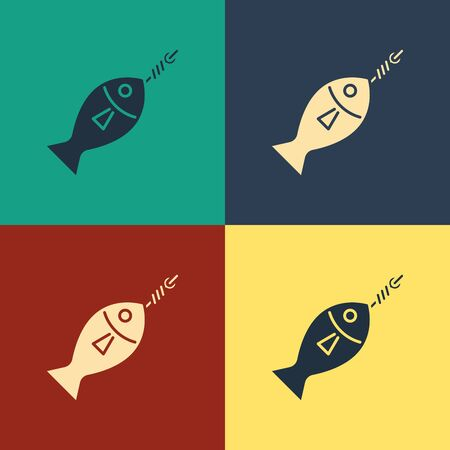 Color Fish on hook icon isolated on color background. Vintage style drawing. Vector Illustration