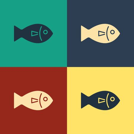 Color Fish icon isolated on color background. Vintage style drawing. Vector Illustration