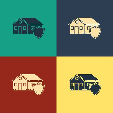 Color House under protection icon isolated on color background. Protection, safety, security, protect, defense concept. Vintage style drawing. Vector Illustration