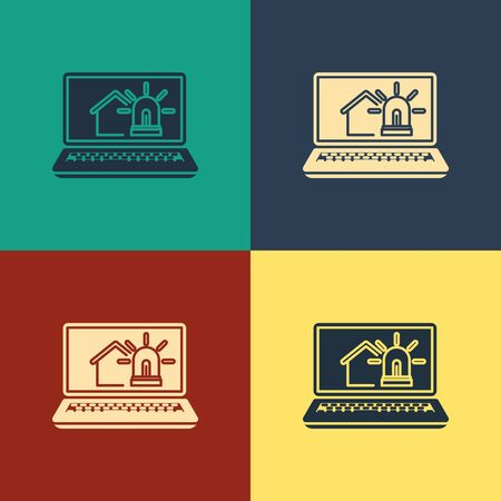 Color Laptop with smart house and alarm icon isolated on color background. Security system of smart home. Vintage style drawing. Vector Illustration