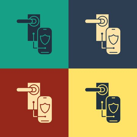 Color Digital door lock with wireless technology for lock icon isolated on color background. Door handle sign. Security smart home. Vintage style drawing. Vector Illustration Foto de archivo - 129884891