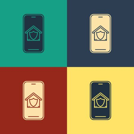 Color Mobile phone with house under protection icon isolated on color background. Protection, safety, security, protect, defense concept. Vintage style drawing. Vector Illustration