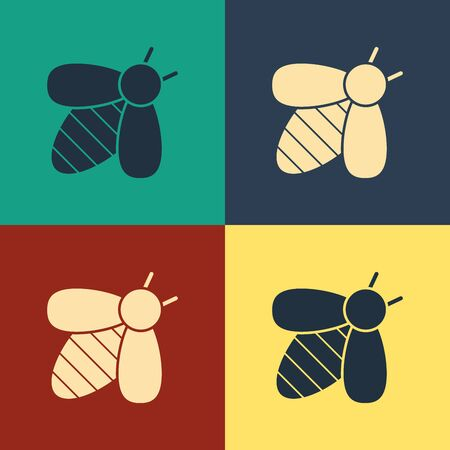 Color Bee icon isolated on color background. Sweet natural food.