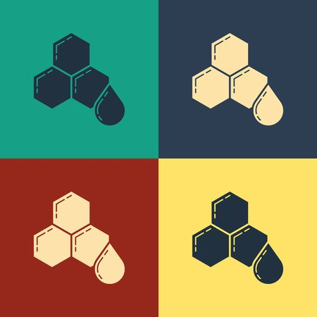 Color Honeycomb icon isolated on color background. Honey cells symbol. Sweet natural food. Vintage style drawing. Vector Illustration
