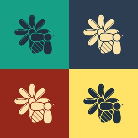 Color Bee and flower icon isolated on color background. Sweet natural food. Foto de archivo - 129795219