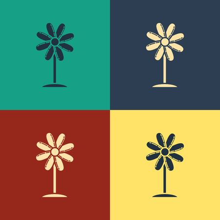 Color Flower icon isolated on color background. Sweet natural food. Vintage style drawing. Vector Illustration