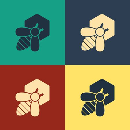 Color Bee and honeycomb icon isolated on color background. Honey cells. Ilustração