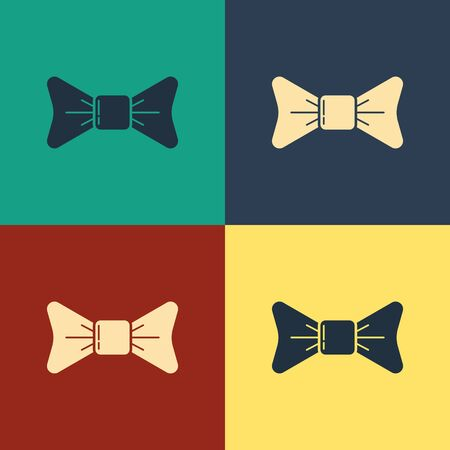 Color Bow tie icon isolated on color background. Vintage style drawing. Vector Illustration Ilustração