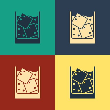 Color Glass of whiskey and ice cubes icon isolated on color background. Vintage style drawing. Vector Illustration