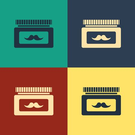 Color Cream or lotion cosmetic jar icon isolated on color background. Body care products for men. Vintage style drawing. Vector Illustration Reklamní fotografie - 129795537
