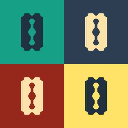 Color Blade razor icon isolated on color background. Vintage style drawing. Vector Illustration