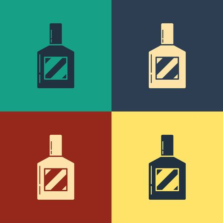 Color Aftershave icon isolated on color background. Cologne spray icon. Male perfume bottle. Vintage style drawing. Vector Illustration