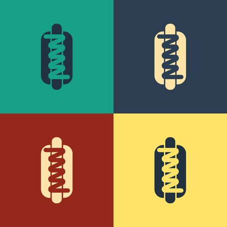 Color Hotdog sandwich with mustard icon isolated on color background. Sausage icon. Fast food sign. Vintage style drawing. Vector Illustration Ilustracja