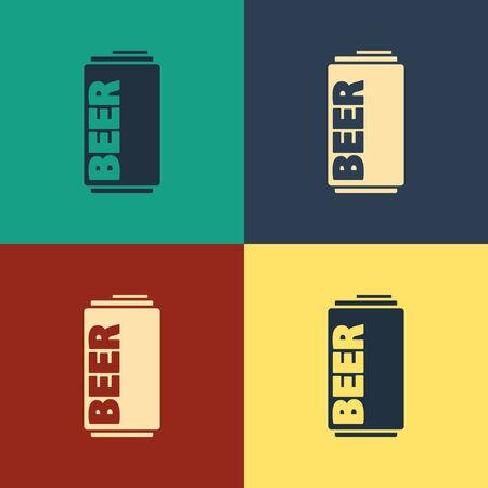 Color Beer can icon isolated on color background. Vintage style drawing. Vector Illustration Imagens - 129734303