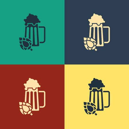 Color Glass of beer and hop icon isolated on color background. Vintage style drawing. Vector Illustration