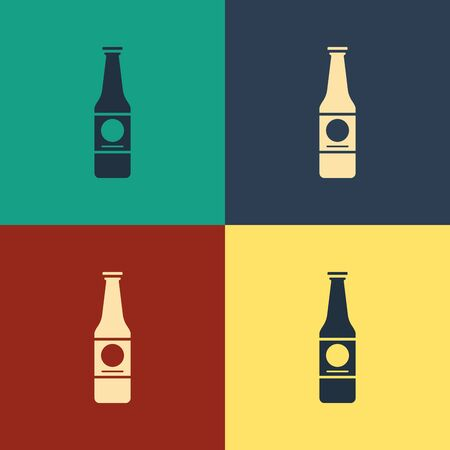 Color Beer bottle icon isolated on color background. Vintage style drawing. Vector Illustration Illustration