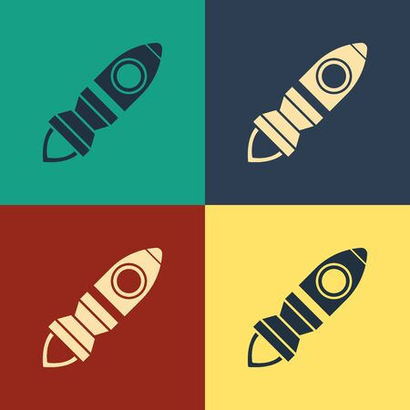 Color Rocket ship with fire icon isolated on color background. Space travel. Vintage style drawing. Vector Illustration Иллюстрация