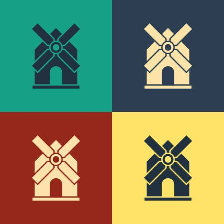 Color Windmill icon isolated on color background. Vintage style drawing. Vector Illustration Ilustração