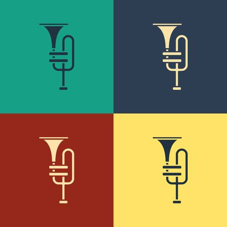 Color Musical instrument trumpet icon isolated on color background. Vintage style drawing. Vector Illustration