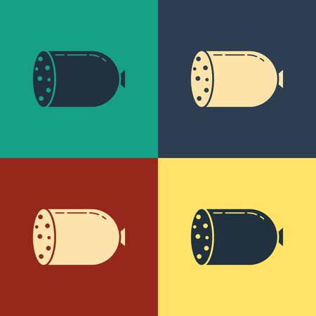 Color Salami sausage icon isolated on color background. Meat delicatessen product. Vintage style drawing. Vector Illustration  イラスト・ベクター素材