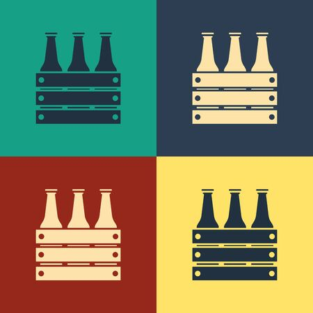 Color Pack of beer bottles icon isolated on color background. Wooden box and beer bottles. Case crate beer box sign. Vintage style drawing. Vector Illustration Illustration
