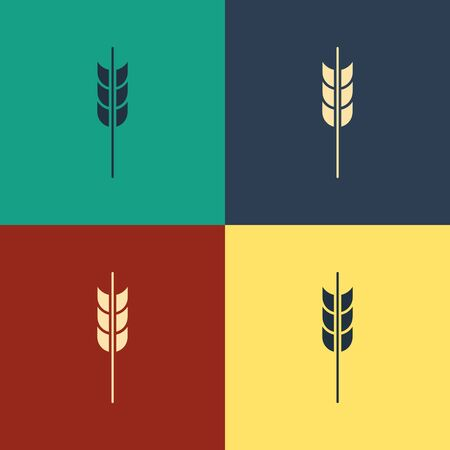 Color Cereals set with rice, wheat, corn, oats, rye, barley icon isolated on color background. Ears of wheat bread symbols. Vintage style drawing. Vector Illustration Banque d'images - 129795576