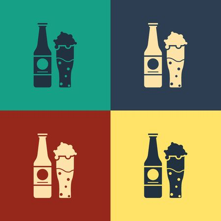 Color Beer bottle and glass icon isolated on color background. Alcohol Drink symbol. Vintage style drawing. Vector Illustration Иллюстрация