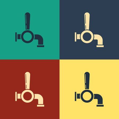 Color Beer tap icon isolated on color background. Vintage style drawing. Vector Illustration  イラスト・ベクター素材